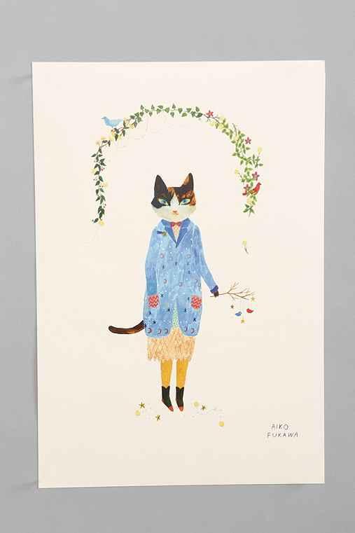 Aiko Fukawa Cat In Blue Coat Art Print - Urban Outfitters