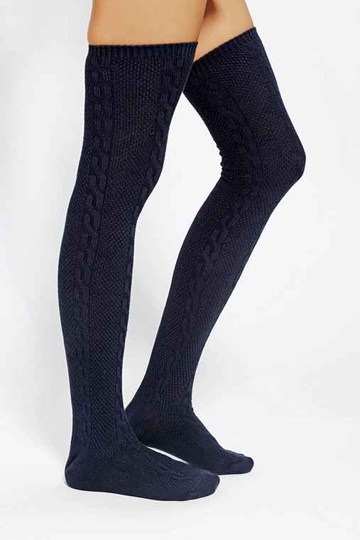 Textured Cable Thigh-High Sock