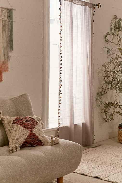 Magical Thinking Pompom Curtain,GREY,52X84