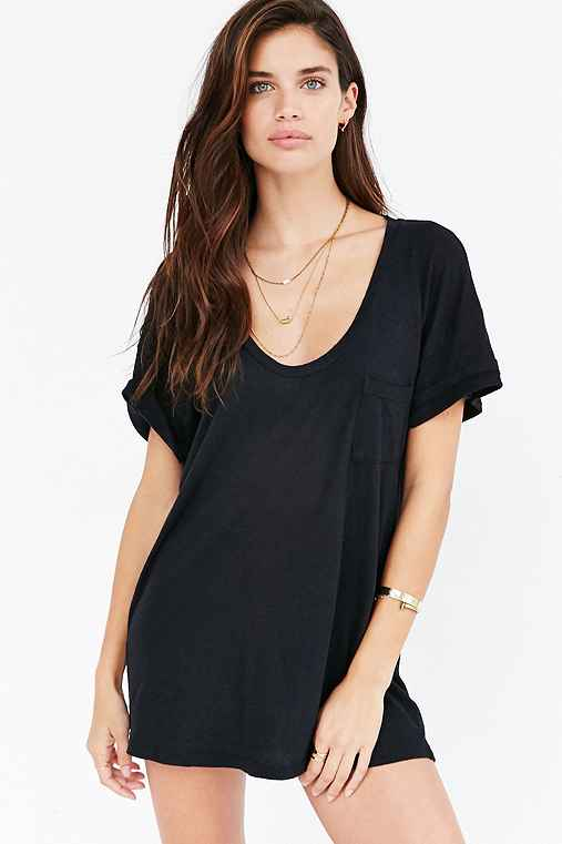 Truly Madly Deeply Scoopneck Slouch Pocket Tee,BLACK,XS