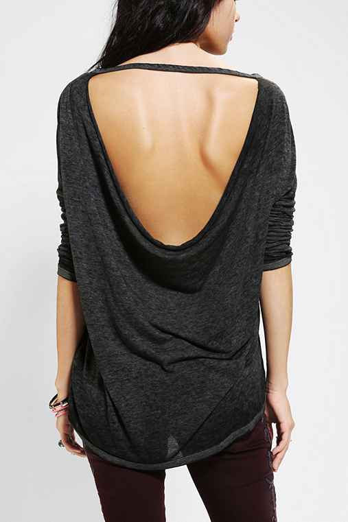 Ecote Burnout Cowl-Back Tunic Top