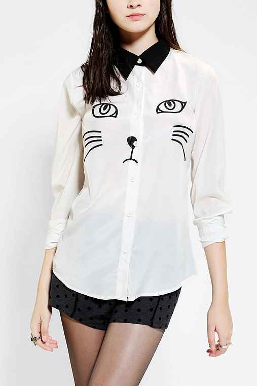 Reverse cat button down shirt urban outfitters for Lucky cat shirt urban outfitters