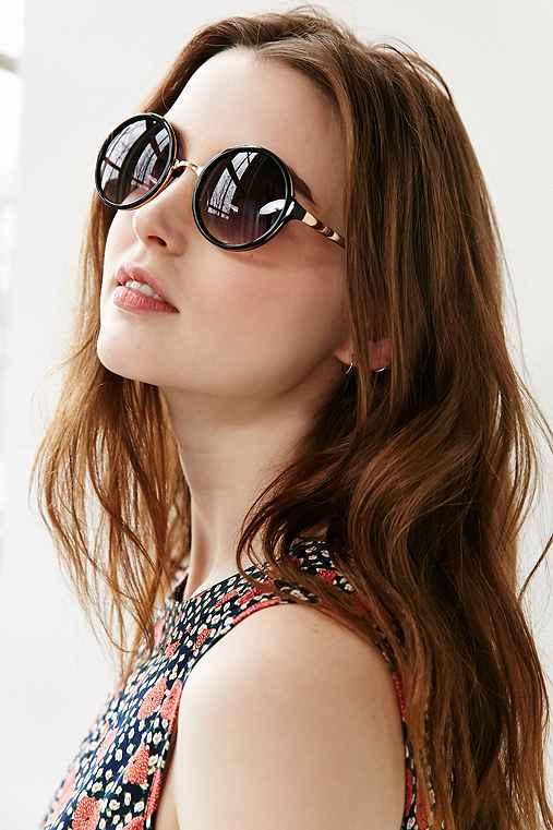 Both Worlds Round Sunglasses,BLACK,ONE SIZE