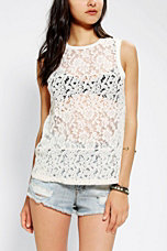 Pins And Needles Mixed Lace Muscle Top