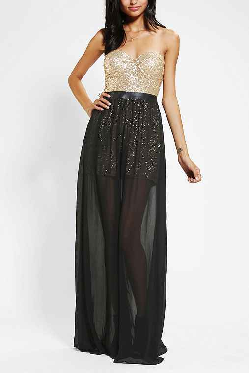 Reverse Sequin Bustier Strapless Maxi Dress