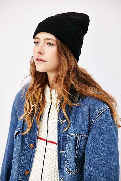 BDG Ribbed Knit Cuffed Beanie,BLACK,ONE SIZE