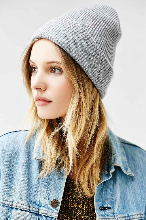 BDG Ribbed Knit Cuffed Beanie,LIGHT GREY,ONE SIZE