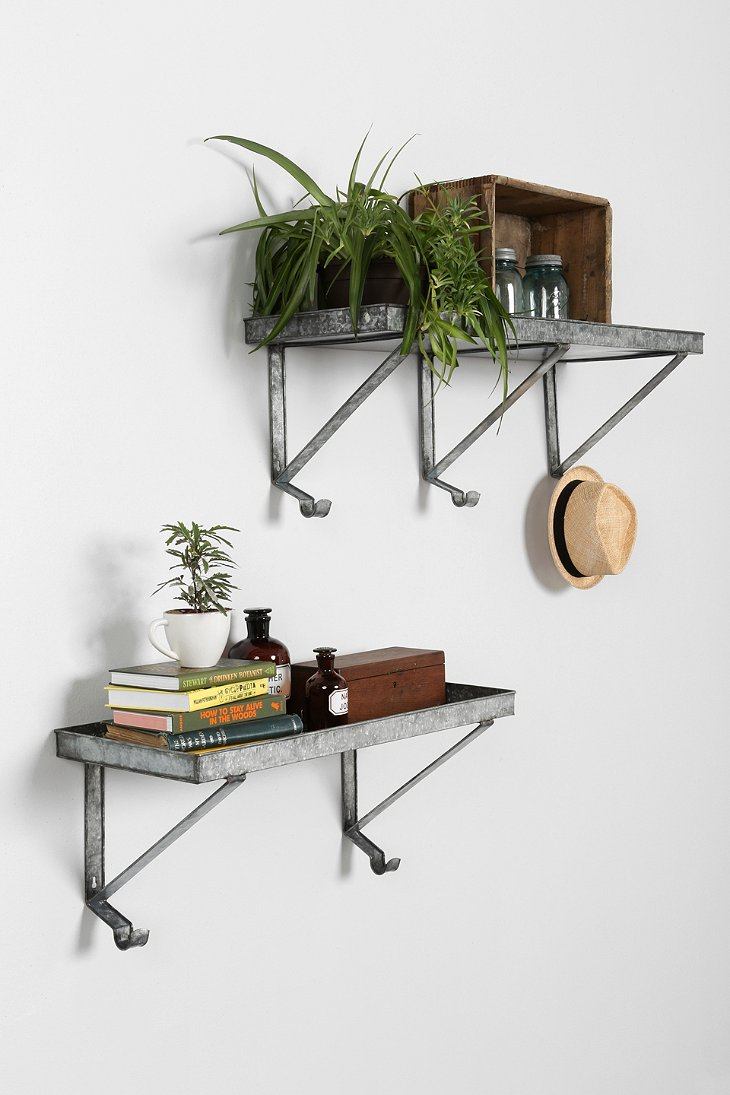 galvanized metal wall shelf urban outfitters. Black Bedroom Furniture Sets. Home Design Ideas