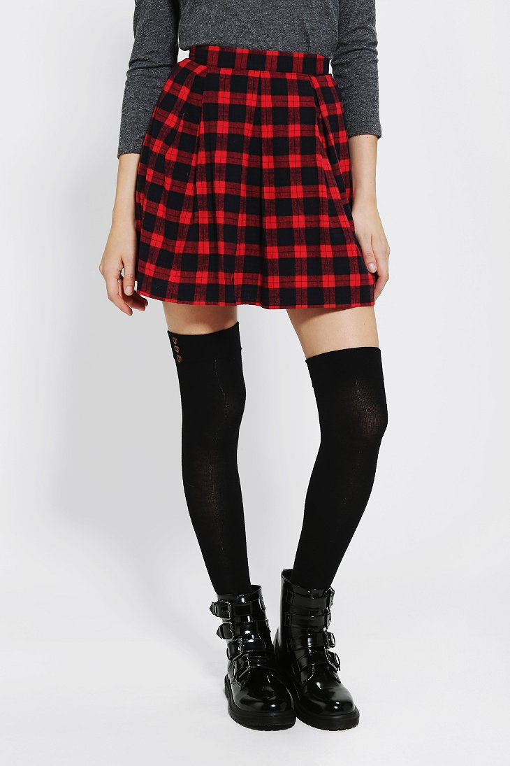 coincidence chance pleated plaid skirt outfitters