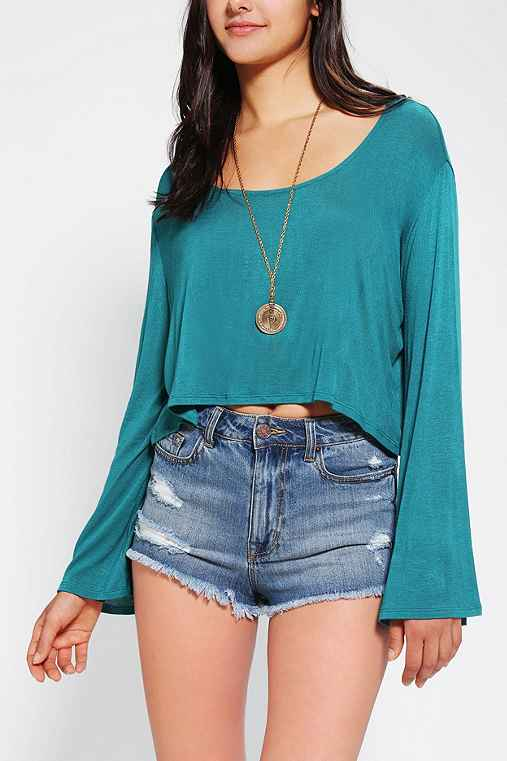 Ecote Bell-Sleeve Cropped Top