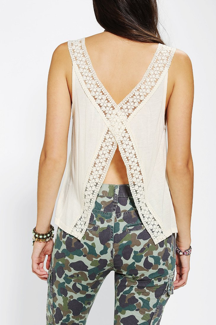 Pins and needles lace split back tank top urban outfitters