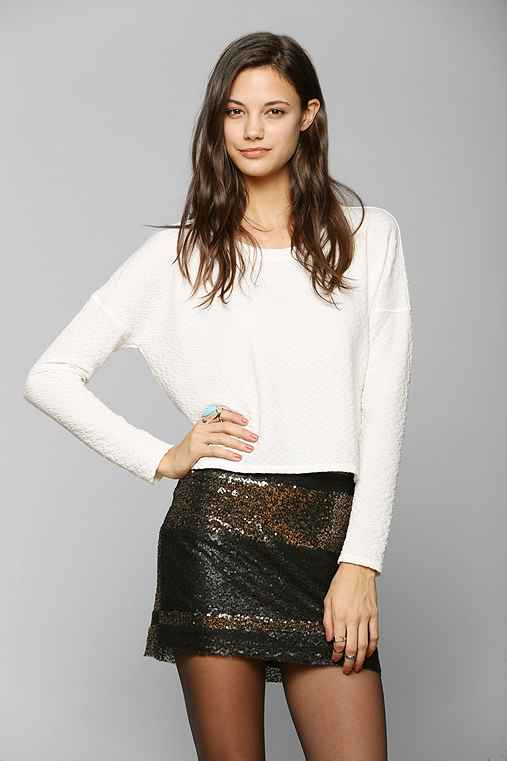 Lucca Couture Sequin Stripe Mini Skirt