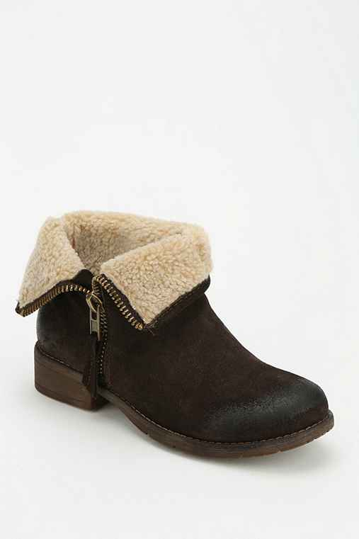 Ecote Fuzzy Fold-Over Ankle Boot