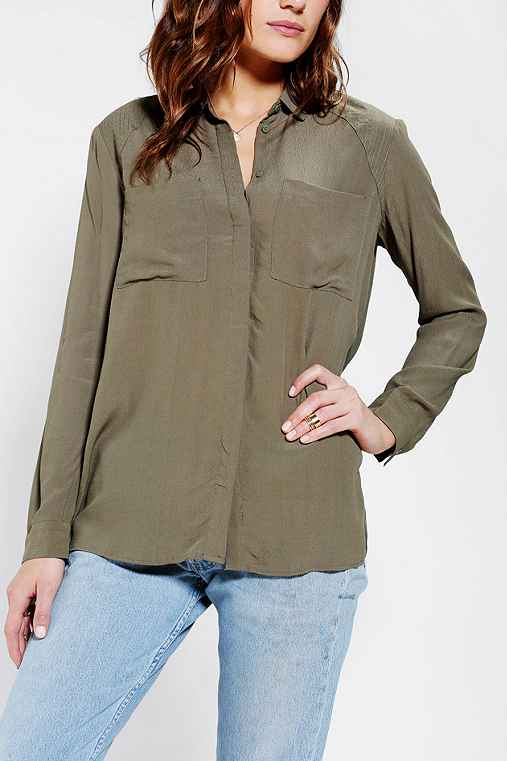 Silence + Noise Crepe Button-Down Shirt