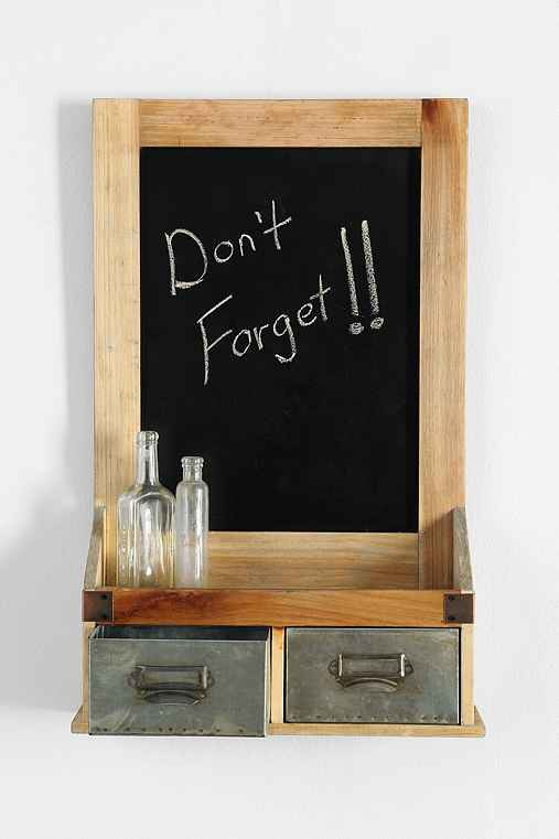 Dual-Drawer Chalkboard Wall Shelf,BROWN,ONE SIZE