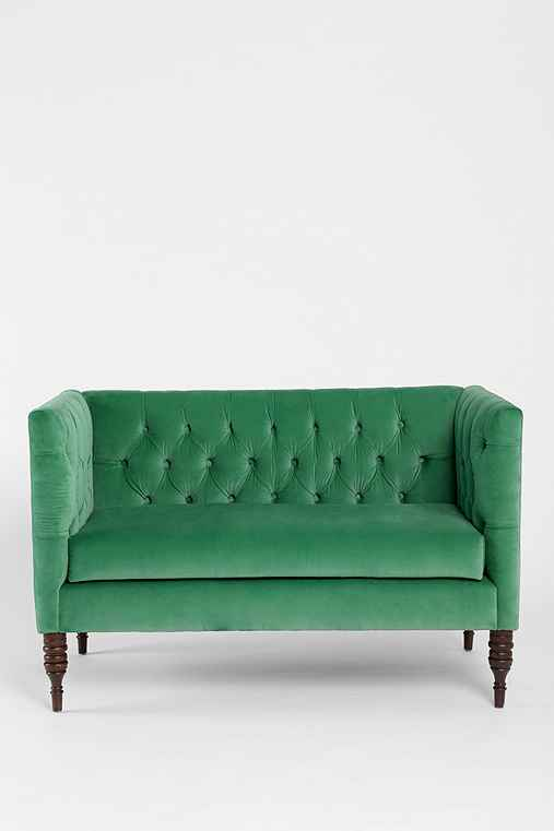 Tufted Settee,DARK GREEN,ONE SIZE
