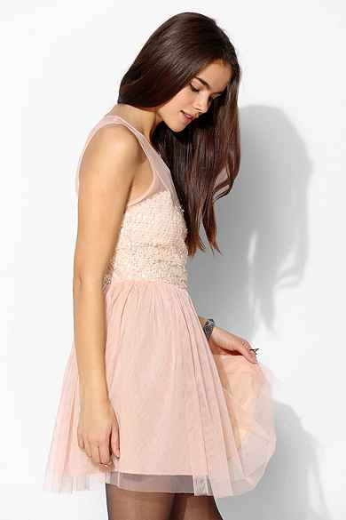 Pins And Needles Mesh Sequin Fit & Flare Dress