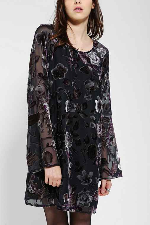 Staring At Stars Burnout Velvet Bell-Sleeve Dress