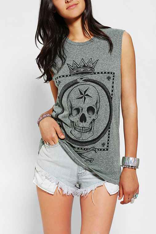 Truly Madly Deeply Crown Skull Muscle Tee