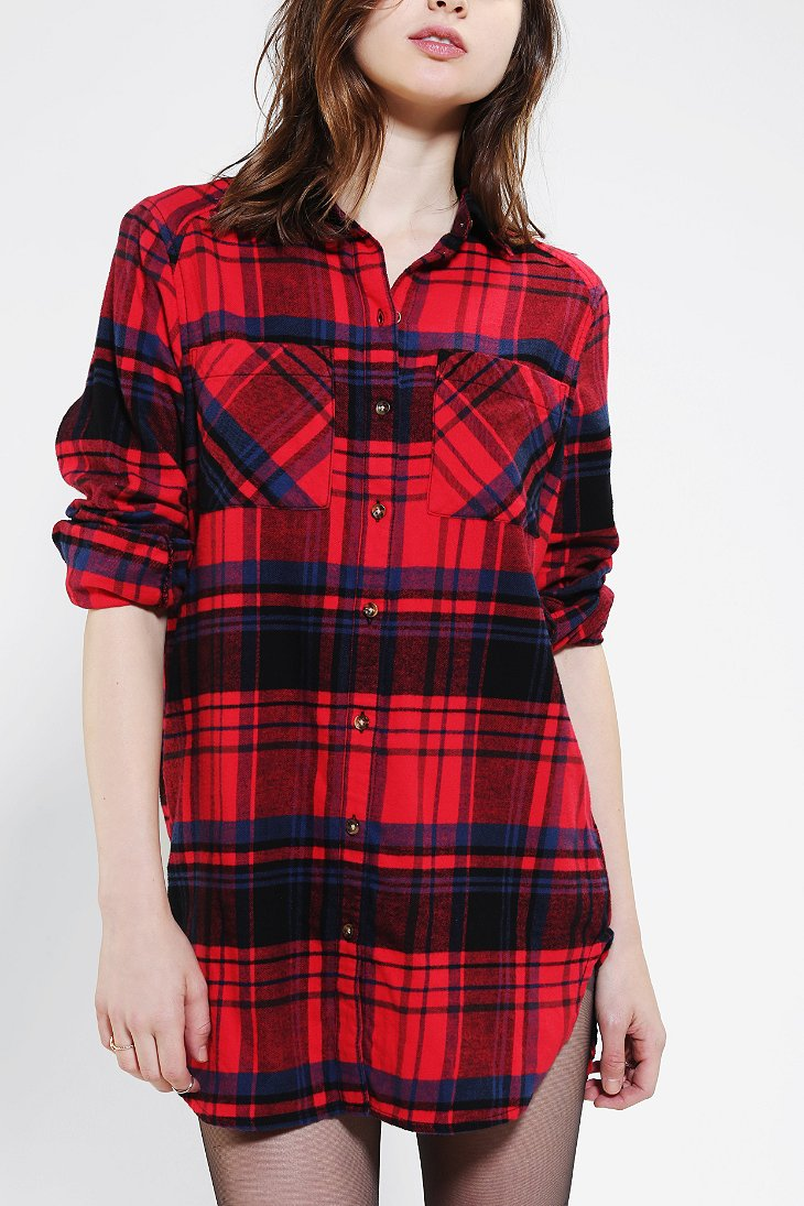 Bdg Oversized Seamed Flannel Shirt Urban Outfitters