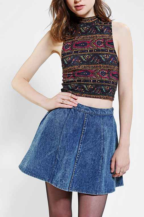 Truly Madly Deeply Printed Mock-Neck Cropped Top
