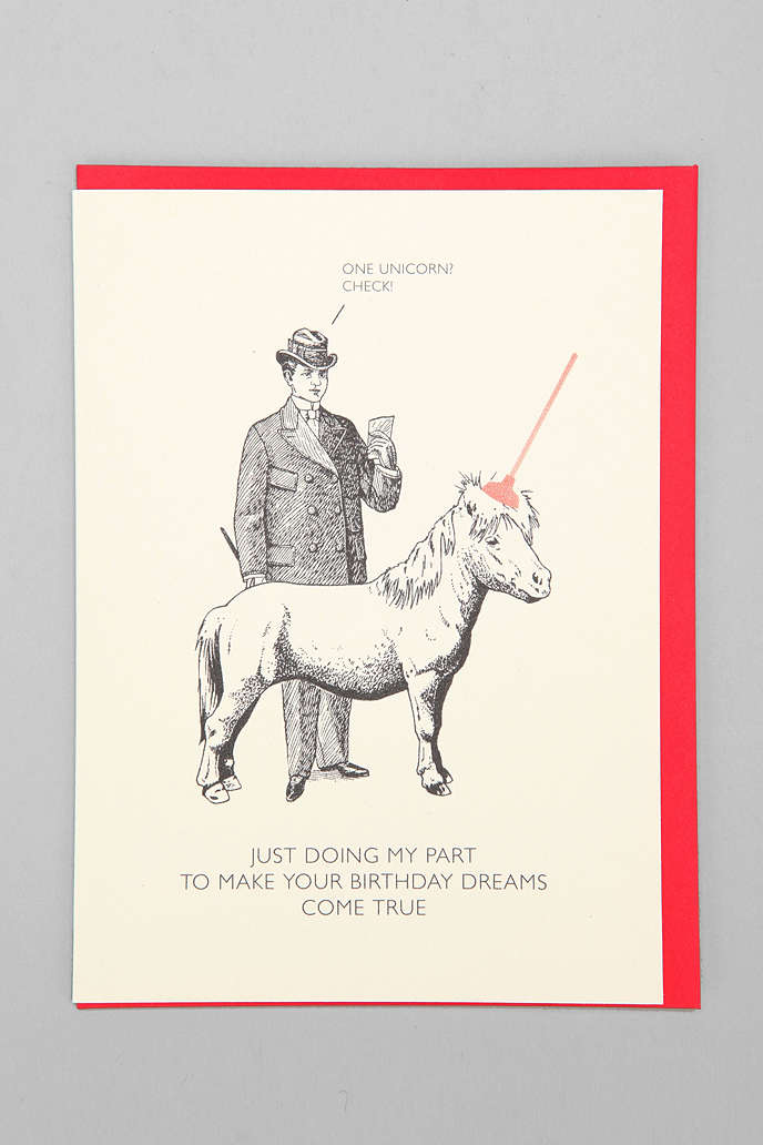 black  white  red all over unicorn birthday card  urban outfitters, Birthday card