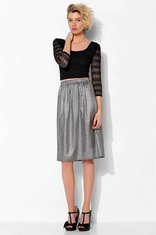 One & Only X Urban Renewal Knit Metallic-Print Skirt