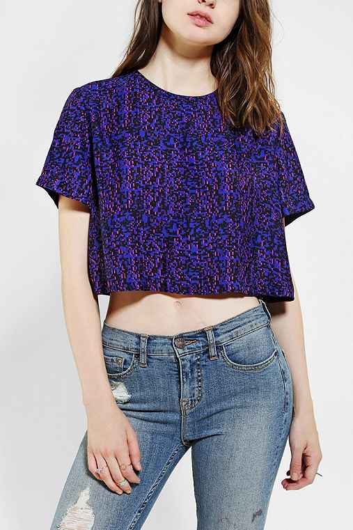 Silence + Noise Zip-Back Cropped Blouse