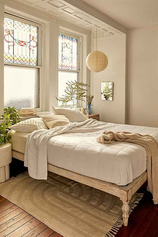 Bohemian Platform Bed,WHITE,QUEEN