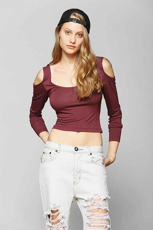 Sparkle & Fade Cold Shoulder Cropped Top