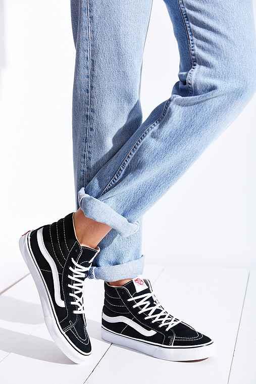 Vans Sk Hi Slim Zip Crackle Suede Shoes Black