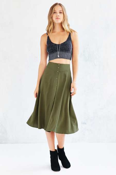 Ecote Button-Down Midi Skirt