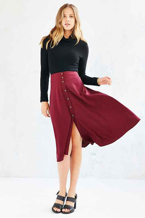 Ecote Button-Down Midi Skirt,MAROON,XS