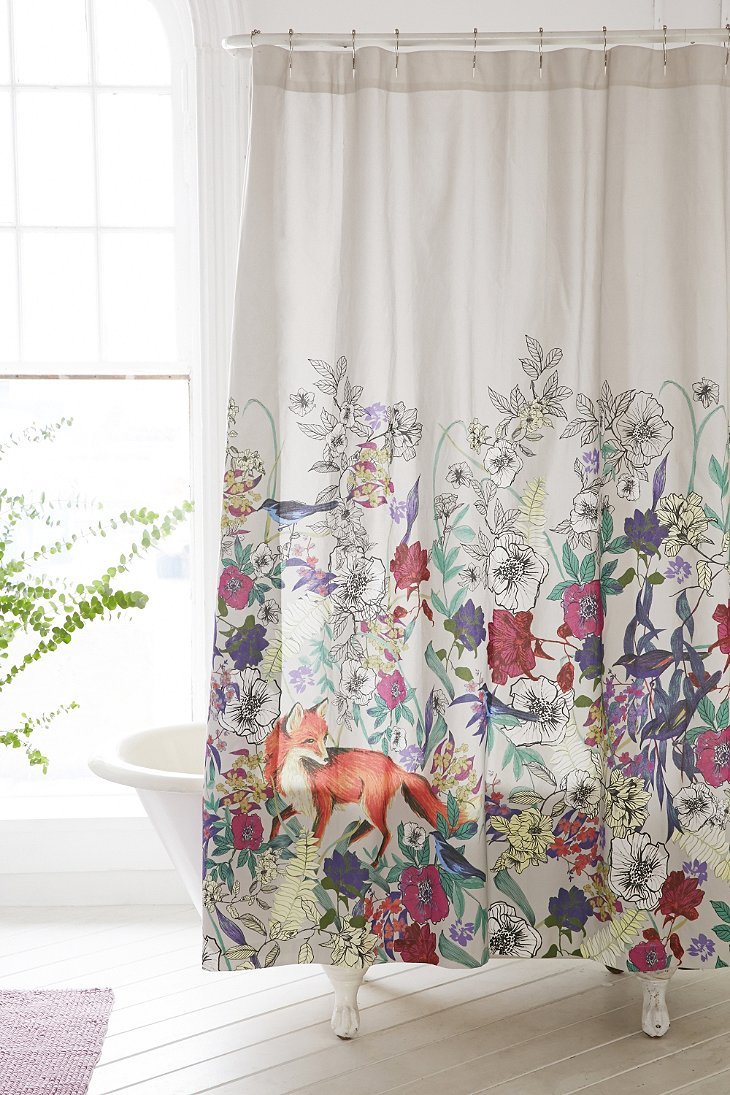 Plum Bow Forest Critters Shower Curtain Urban Outfitters