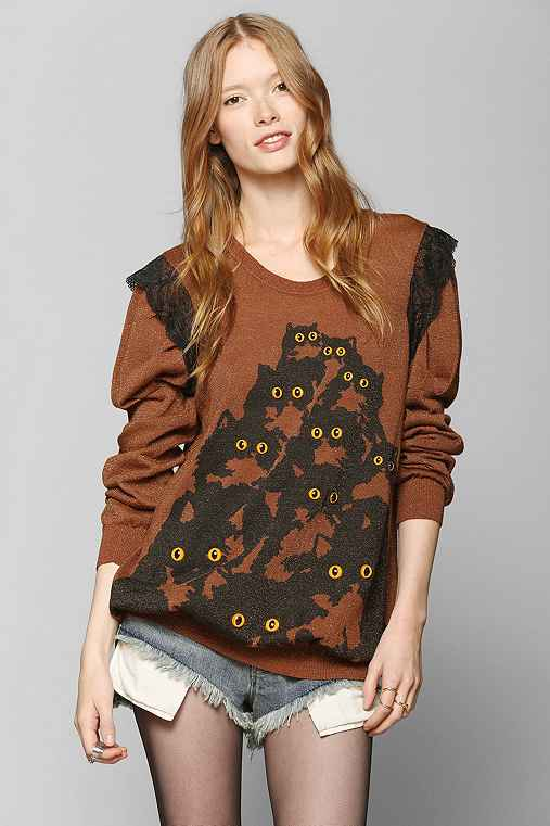 Pretty Snake One-Of-A-Kind Crazy Kitty Brown Sweater