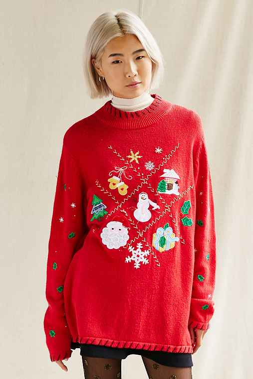 Urban Renewal Vintage Ugly Holiday Sweater,PULLOVER,S