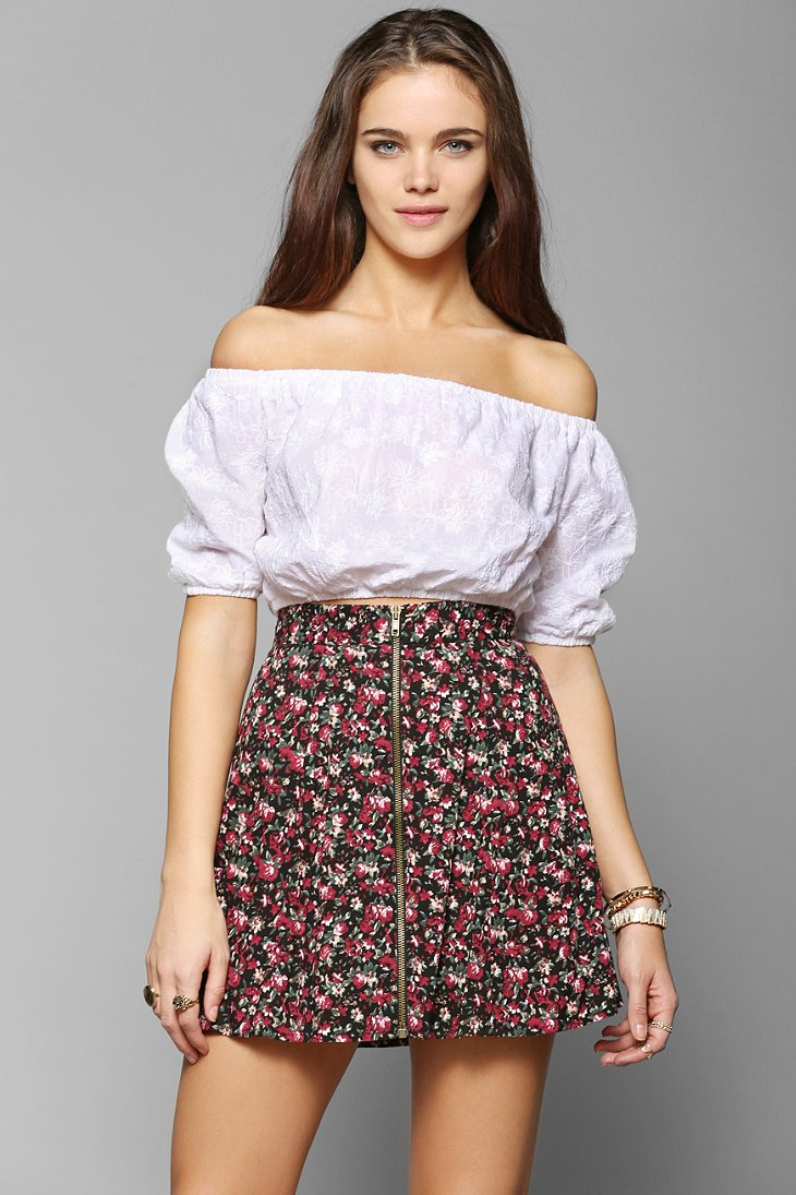 Lucca couture embroidered off the shoulder cropped top urban