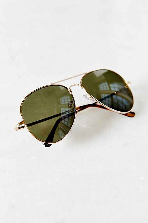 Classic Aviator Sunglasses,GOLD,ONE SIZE