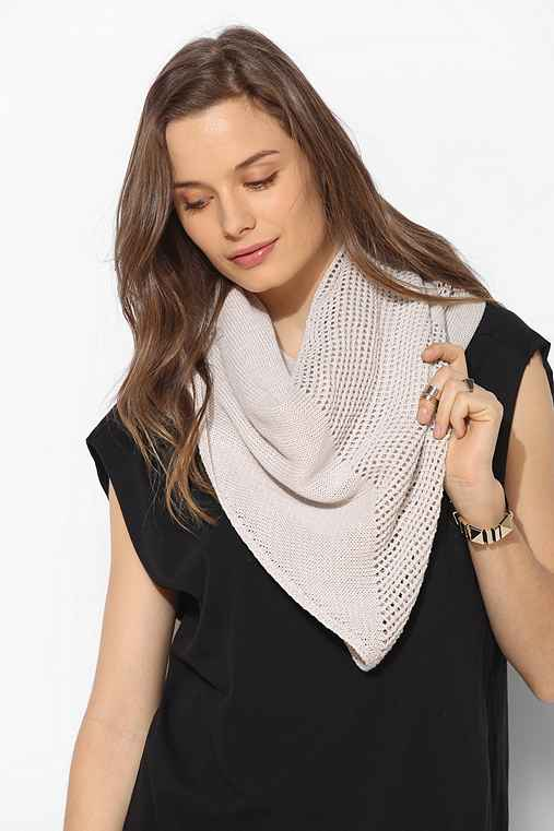 Bickley + Mitchell Mixed-Knit Triangle Scarf