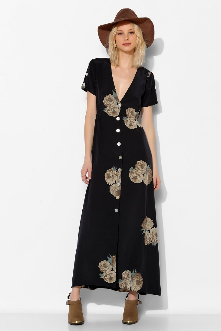 Stone Cold Fox Dharma Button Front Maxi Dress Urban Outfitters