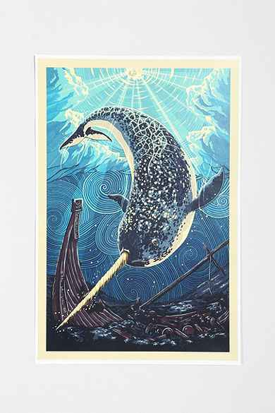 Narwhal poster for Alex cherry flying whales wall mural