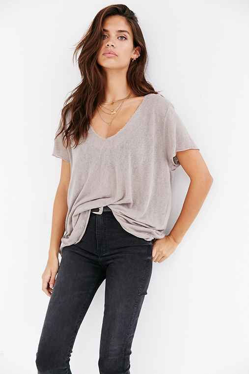 Project Social T Textured-Knit V-Neck Tee,PURPLE MUD,XS