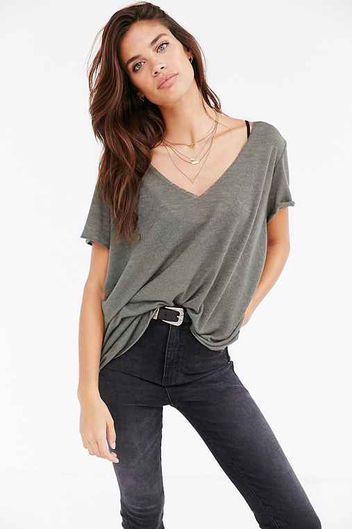 Project Social T Textured-Knit V-Neck Tee,BOYFRIEND GREEN,M