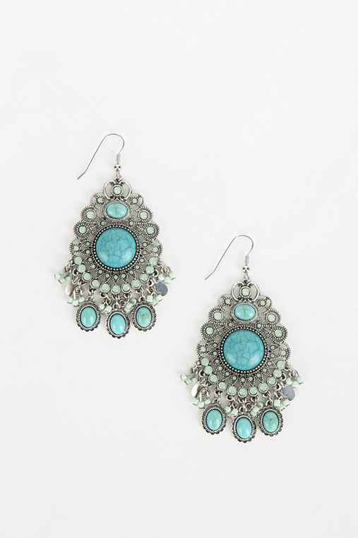 Turquoise Trance Chandelier Earring,TURQUOISE,ONE SIZE