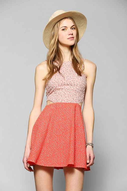 Lucca Couture Pattern-Mix Cutout Dress
