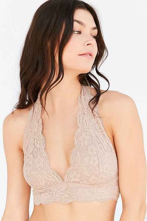 Out From Under Lace Halter Bra,NUDE,L