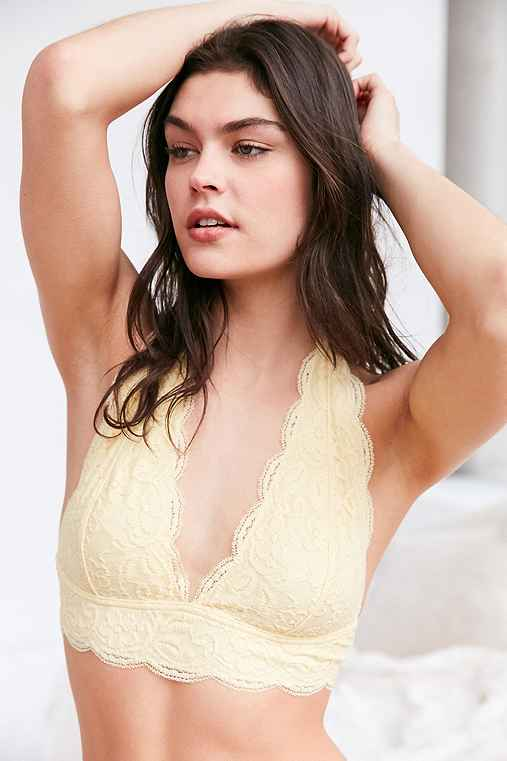 Out From Under Lace Halter Bra,YELLOW,L