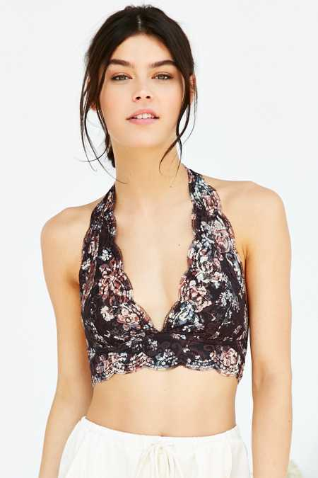 Pins And Needles Printed Lace Halter Bra