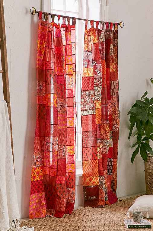 Magical Thinking Patchwork Curtain,RED,52X84
