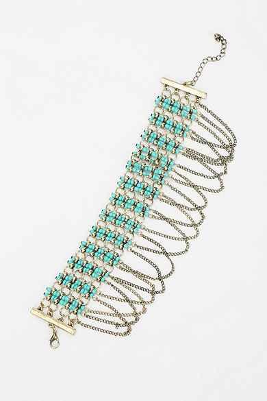 Chain-Fringe Beaded Anklet